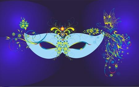 blue carnival mask Illustration