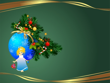 Christmas background with an angel and bauble