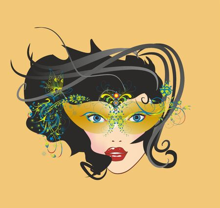 carnival mask and face, Illustration