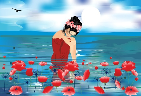 girl, sea and poppies