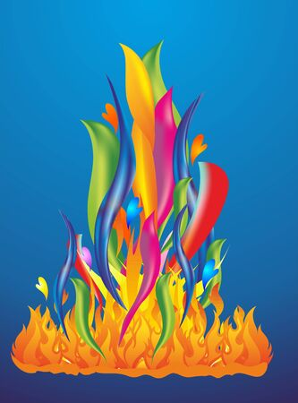 colored fire and flames Illustration