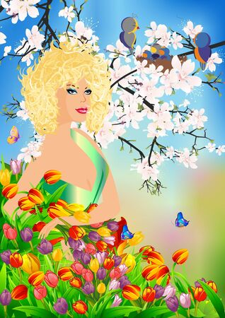 Ms. in spring flowers