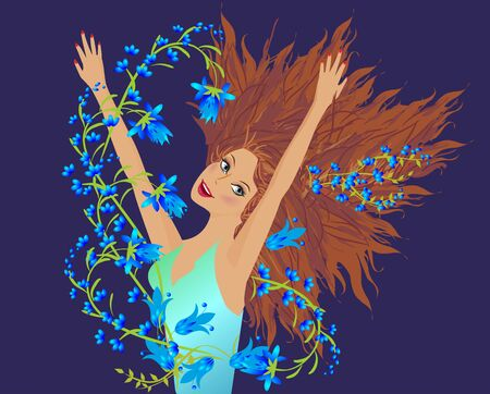 Woman and blue flowers. Illustration