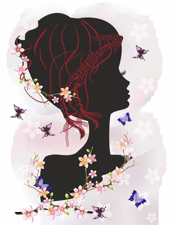 Woman and butterflies,