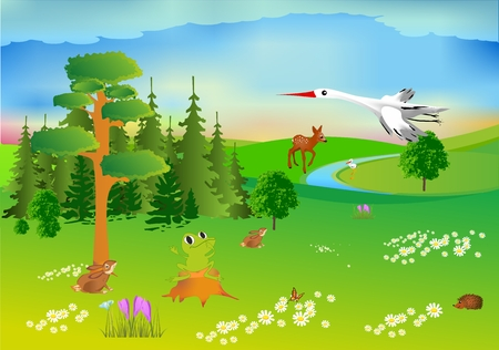 Spring forest and animals