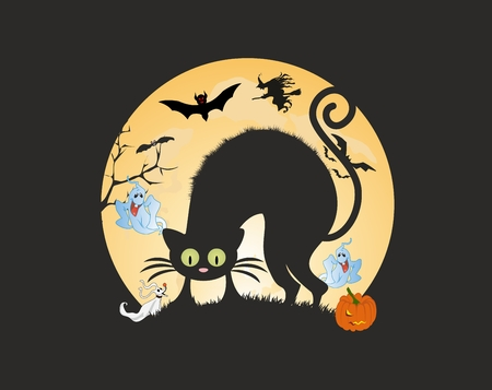 Composition of scared cat and ghosts on halloween Çizim