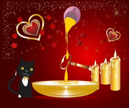 waxes: Composition of the key, candles and cat.