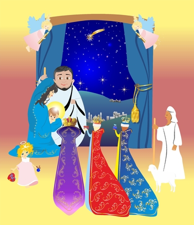 corona navidad: Holy Family in Bethlehem illustration