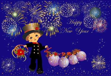 composition with fireworks and chimney sweep for New Year
