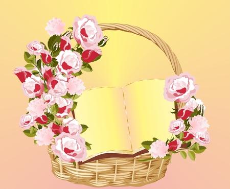 Basket with flowers illustration on pink background.