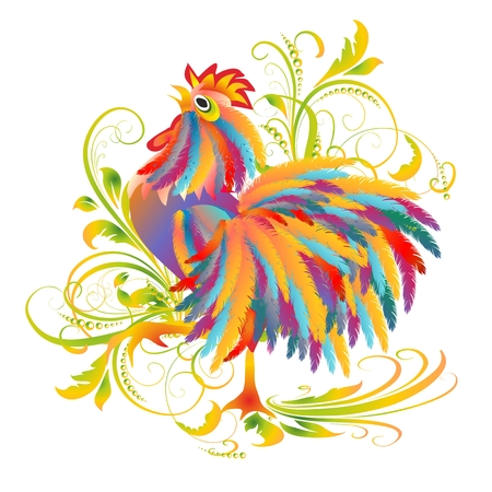composition with colorful rooster with a red comb Vector illustration. Illustration