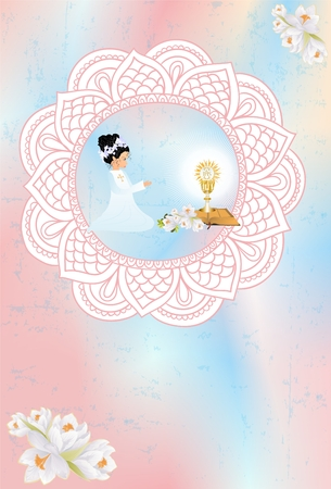 Composition With A Girl And Symbols Holy Communion Royalty Free