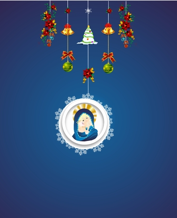 Christmas decoration with the Mother of God and Jesus