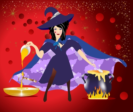 composition with a witch the girl who heats the wax and pours it into a bowl of water