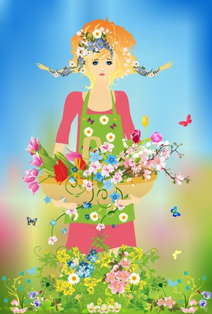 spring composition with a girl who goes with a basket of flowers Stock Photo