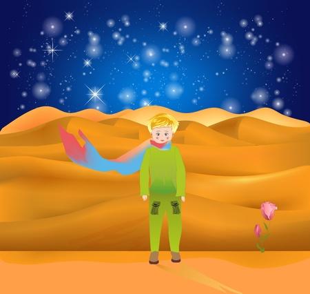 Komposition mit einem kleinen Jungen, der allein auf einem fremden Planeten ist