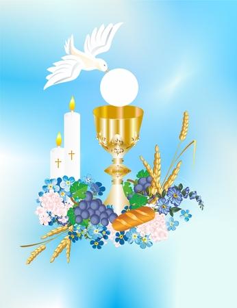 achtergrond met karakteristieke symbolen van de Heilige Communie