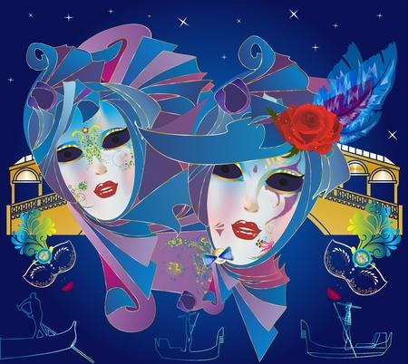 , composición con mujeres disfrazadas de carnaval en la cabeza