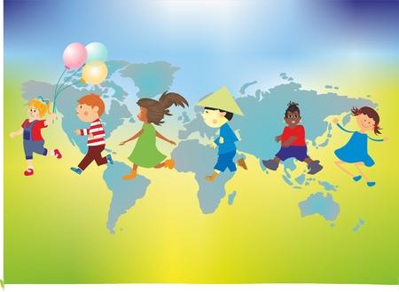 compositie met gelukkige kinderen tegen de achtergrond van de wereldkaart