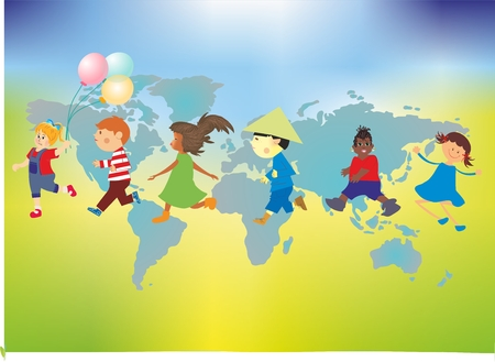 composition with happy children against the background of the world map