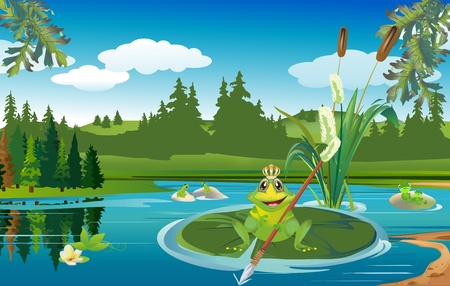 scene of the lake and frogs that live in this lake Illustration