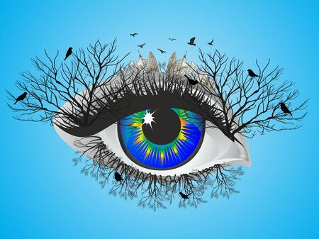 composition with an eye surrounded by trees, birds and buildings  イラスト・ベクター素材