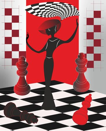 composition depicting a queen in a hat on a chessboard Иллюстрация
