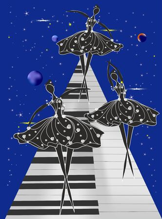 composition showing ballet dancers on piano keys Иллюстрация