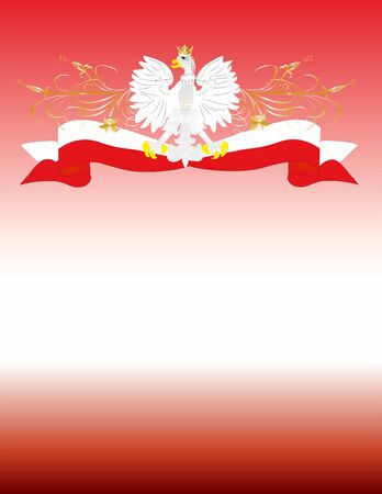 composition white-red with eagle, Polish emblem Ilustrace
