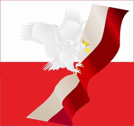 composition white-red with an eagle that has outstretched wings
