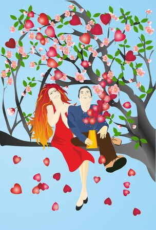 composition with people in love who are sitting on the tree