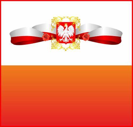 composition white-red with eagle, Polish emblem Illustration