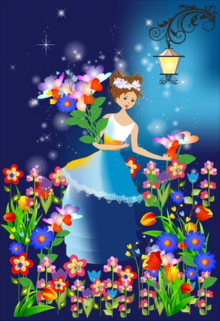 composition with a girl who collects flowers at night