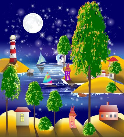 composition with coastal landscape, lighthouse and moon