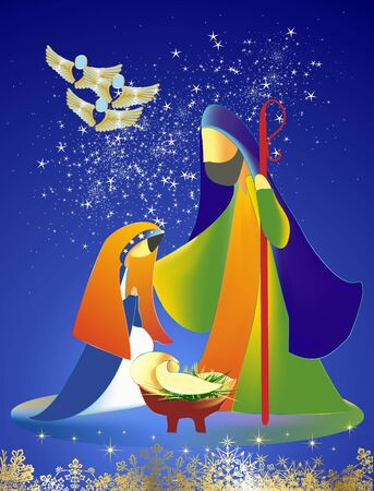 Christmas composition with the holy family against the background of stars and flying angels