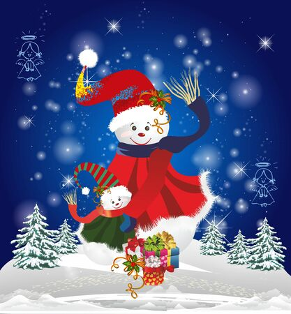 Christmas composition with two snowmen standing and presents in front of them