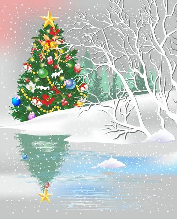 Christmas composition with a Christmas tree that stands beautifully adorned in the forest and is reflected in the lake, Ilustração