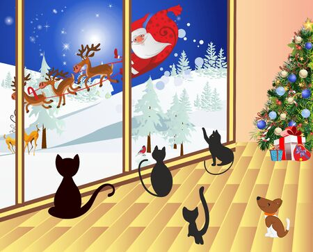 composition with Santa, who drives in a sleigh in front of the window and cats look at him Ilustracja