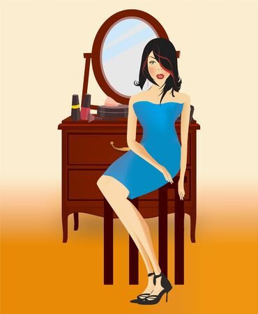 composition with a girl who is wearing a blue dress sitting in front of the mirror Ilustracja