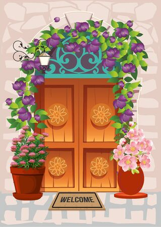 composition with old doors, around which there are flowers,