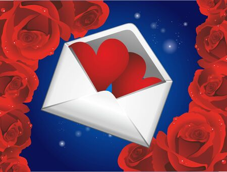 composition with envelope, red hearts and roses Ilustracja