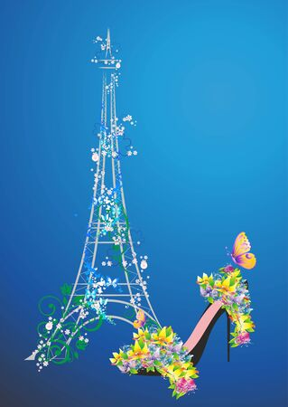 composition with flowers, high-heeled shoes and the Eiffel Tower