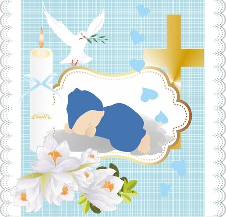 composition with symbols characteristic of baptism