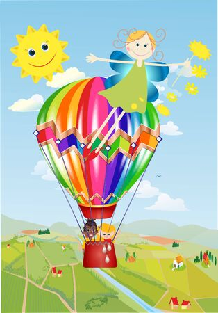 composition with a balloon in which children fly over the village