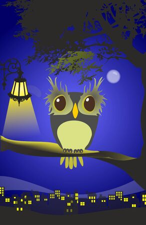 composition with owl which sits on a branch and in the background you can see the city Ilustracje wektorowe