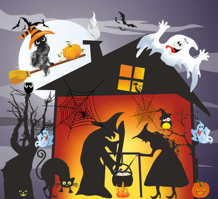 composition with a witch who mixes something in a pot and a ghost above the house