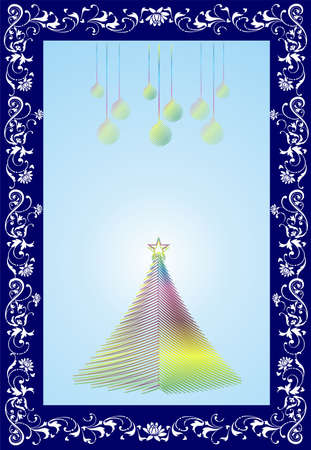 composition with a Christmas tree and baubles for Christmas