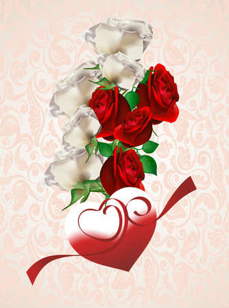 red and white composition with roses, heart and ribbon Stok Fotoğraf
