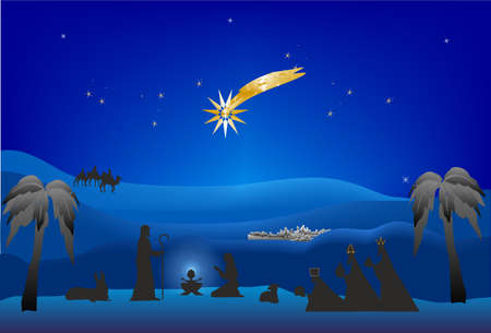 composition that presents the birth of Christ and the three kings with gifts