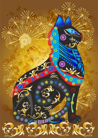 composition with a black cat that has various colorful decorations